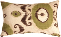 Bold Green Ikat 12x20 Throw Pillow