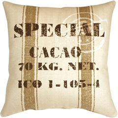 Cacao Bean Brown Print Throw Pillow