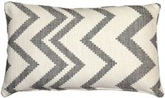 Lorenzo Zigzag Gray 12x20 Throw Pillow
