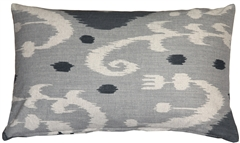 Indah Ikat Gray 12x20 Throw Pillow