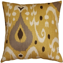 Indah Ikat Yellow 20x20 Throw Pillow
