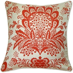 Rustic Floral Orange 20x20 Throw Pillow