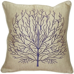 Fire Coral Blue 17x17 Throw Pillow
