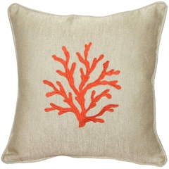 Sea Coral in Orange 17x17 Throw Pillow