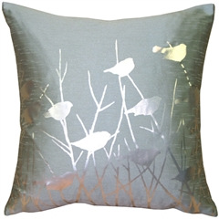 Metallic Birds Blue Haze Throw Pillow