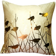 Metallic Birds Desert Sand Throw Pillow