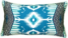 Electric Ikat Teal 15x27 Throw Pillow