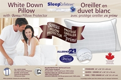 White Down Bed Pillows with Bonus Pillow Protector