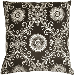 Filigree Black 17x17 Throw Pillow