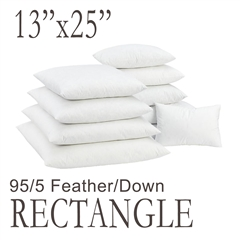 "13""x25"" Rectangular Feather Down Pillow Form"