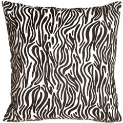 Zebra Stripes Square Faux Fur Throw Pillow