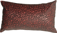 Pebbles in Red 12x20 Faux Fur Throw Pillow