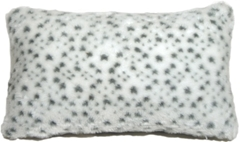 Snow Leopard Faux Fur 12x20 Throw Pillow