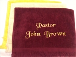 pastor towels ,pulpit towels, customized pastoral towel, pastoral towels, custom embroidered pastoral towels, customized clergy towels towels, minister towels,  preaching towels,  towels,ordination gifts, pastor, minister, towels, ordination gifts,