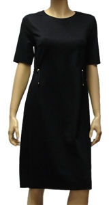 Marc Cain dark navy knee length dress with short sleeves and a round neck