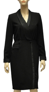Marc Cain elegant black knee length dress with shawl dress collar