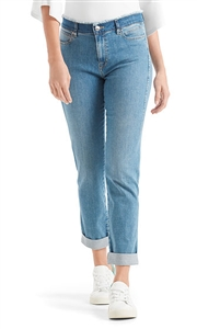 Marc Cain denim jeans with a contrasting raw edge waistband