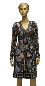 Halebob knee length dress in black with a floral pattern