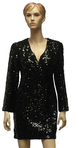 Marella Scoglio black sequin dress waisted with wrap over bodice.