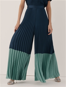 Marella Capo navy & green pleated culottes