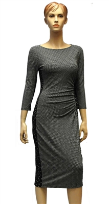 MaxMara Weekend Kriss black and white print fitted jersy dress