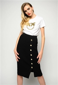 Pinko Midi-length skirt in rib knit viscose crêpe.