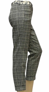 Riani blue and ivory check pattern pant with turn ups