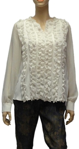 Riani off white silk blend ruffle front blouse