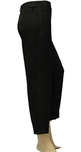 Riani black tapered pin-stripe trousers with turn-up hem, zip side pockets
