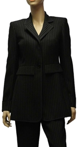 Riani black single breasted lined pin-stripe jacket