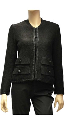 Riani black collarless mid-weight jacket
