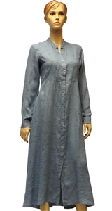 120%  blue ankle length linen dress with same colour embroidery detail