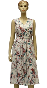 MaxMara Studio Midas cream dress with V-neck and a vintage style print