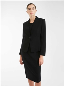 MaxMara Studio Rugiada navy single breasted collarless jacket