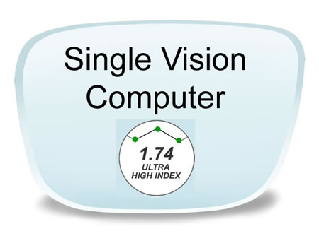 Seiko Single Vision High Index 1.74 Clear with SS Anti-GlarePrescription Eyeglass Lenses