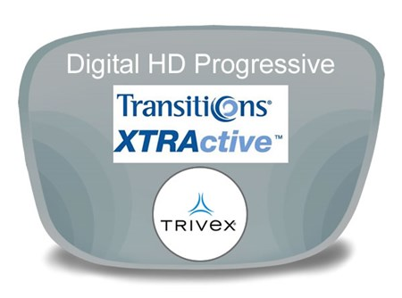 Digital (HD) Progressive Trivex Transitions XTRActive Prescription Eyeglass Lenses