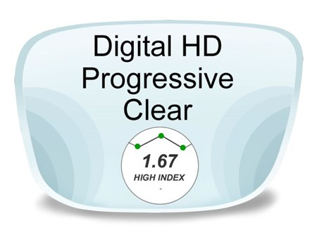 Digital (HD) Progressive High Index 1.67 Prescription Eyeglass Lenses