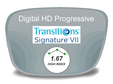 Digital (HD) Progressive High Index 1.67 Transitions VI Prescription Eyeglass Lenses