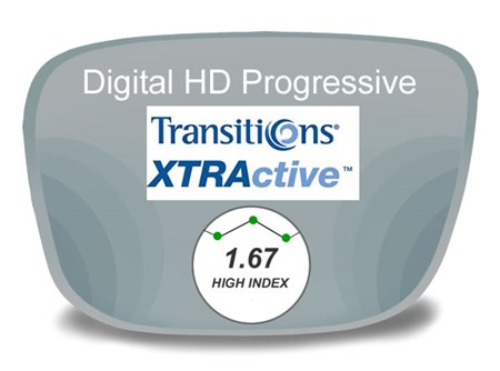 Digital (HD) Progressive High Index 1.67 Transitions XTRActive Prescription Eyeglass Lenses