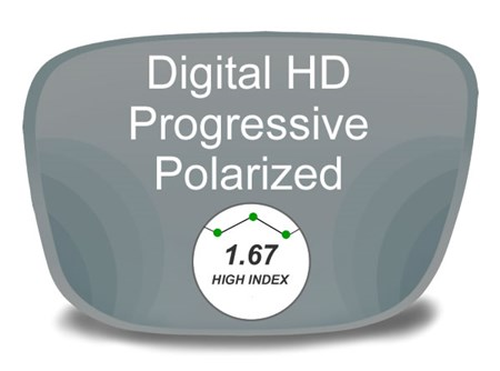 Digital (HD) Progressive High Index 1.67 Polarized Prescription Eyeglass Lenses