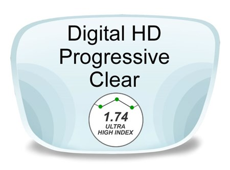 Digital (HD) Progressive High Index 1.74 Prescription Eyeglass Lenses