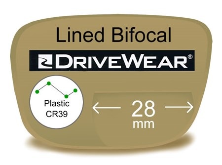 Lined Bifocal 28mm Plastic Drivewear Prescription Eyeglass Lenses