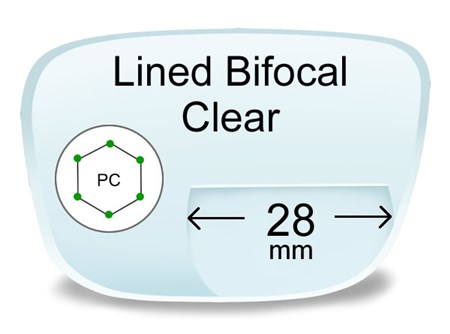Lined Bifocal 28mm Polycarbonate Prescription Eyeglass Lenses