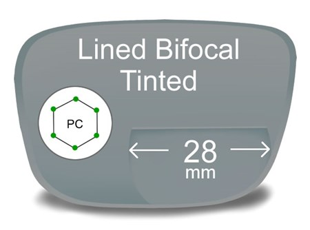 Lined Bifocal 28mm Polycarbonate Tinted Prescription Eyeglass Lenses