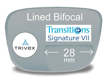 Lined Bifocal 28mm Trivex Transitions VI Prescription Eyeglass Lenses