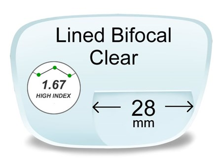 Lined Bifocal 28mm High Index 1.67 Prescription Eyeglass Lenses