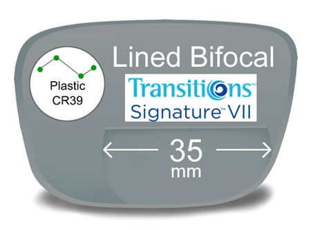 Lined Bifocal 35mm Plastic Transitions VI Prescription Eyeglass Lenses