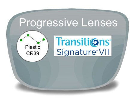 Progressive (no-line) Plastic Transitions VI Prescription Eyeglass Lenses