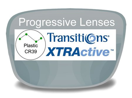 Progressive (no-line) Plastic Transitions XTRActive Prescription Eyeglass Lenses