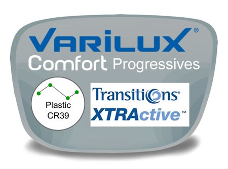 Varilux Comfort 2 Progressive (no-line) Plastic Transitions XTRActive Prescription Eyeglass Lenses